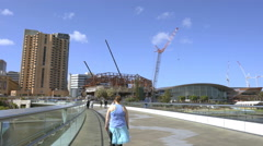 Moving shot of downtown Adelaide, Australia Stock Footage