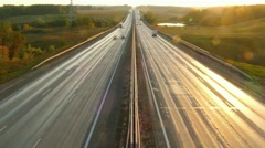 cars on highway road at sunset, timelapse, 4k - stock footage