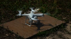 Take off - Unmanned aerial vehicle against blue sky - stock footage