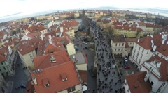 Prague aerial helicopter view tilt up medium height facing east 4k Stock Footage