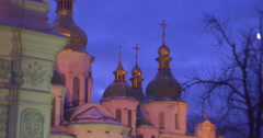 Buildings of a Sofia Cathedral Bare Branches Trees Decorated with Blue Lamp Stock Footage