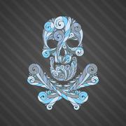Tribal tatto skull. - stock illustration