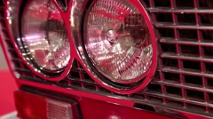 Stylish round headlights of retro car Stock Footage