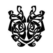 Elegant difficult curled ornamental gothic tattoo. Celtic style. Maori. - stock illustration