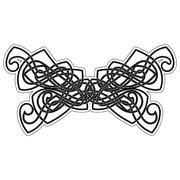 Elegant difficult curled ornamental gothic tattoo. Celtic style. Maori. - stock illustration