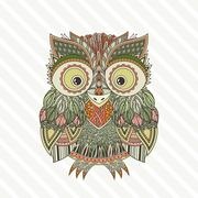Stock Illustration of Vector zentangle owl illustration. Ornate patterned bird.