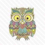 Vector zentangle owl illustration. Ornate patterned bird. - stock illustration
