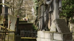 Old tombs on the Lychakiv Cemetery in Lviv, Ukraine Stock Footage