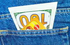 One hundred dollars bill and Credit card MasterCard Stock Photos