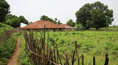 African village outskirt with hut in Guinea Bisseau Stock Footage