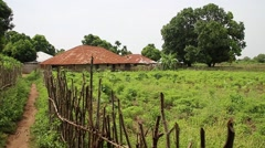 African village outskirt with hut and pathway in Guinea Bisseau Stock Footage