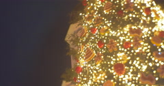 Fir-Tree at Sofia The Kievan Tower Toys Shining Garland Sparking Lamplights Stock Footage