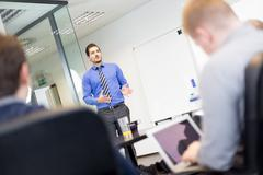 Business presentation on corporate meeting. Stock Photos