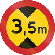 Road sign used in Sweden - No vehicles having an overall height exceeding 3.5 - stock illustration