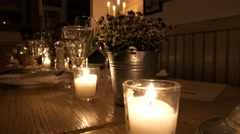 Candlelit table for romantic dinner Stock Footage