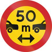 Road sign used in Sweden - Minimum distance between power driven vehicles - stock illustration