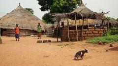 Africa native village daylife - women Stock Footage