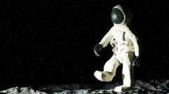 Astronaut on Moon Playing Baseball Stop Motion Animation Close Up, 4K Stock Footage