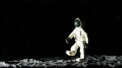 Astronaut on Moon Playing Baseball Stop Motion Animation, 4K Stock Footage