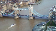 Aerial view of the iconic Tower bridge in London Stock Footage