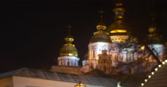Night View of The Sophia Cathedral Illuminated Golden Cupolas Small House Stock Footage