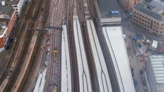 Aerial view of engineering works on the railway - stock footage