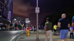 Downtown Miami city scene people - stock footage