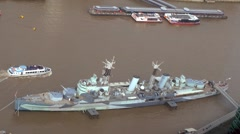 Aerial view of the battleship HMS Belfast Stock Footage