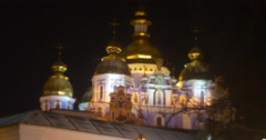 Night View of The Sophia Cathedral Illuminated Building Golden Cupolas Small Stock Footage