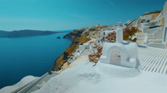 Slider Ultra Wide Panoramic Shot Santorini Cliff and Aegean Sea in the Afternoon - stock footage
