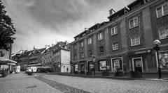 OLSZTYN, POLAND - August 21, 2015: Timelapse view of old houses of Olsztyn Stock Footage