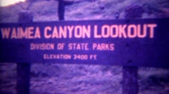 1973: Waimea Canyon Lookout state park view tropical natural wildlife refuge. Stock Footage