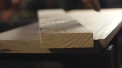 A carpenter - wood worker using a jig saw Stock Footage