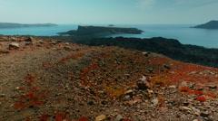 Stock Video Footage of Tilting Shot of a Volcanic Desert Island