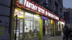 Famous Fantasy Tattoo Parties store on 6th Avenue and Waverly Place West Village Stock Footage