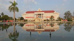 Goverment building reflection in pond,Vientiane,Laos Stock Footage