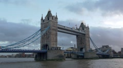 Tower bridge and the South bank in London Stock Footage