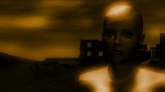 Alien close up on distant planet Stock Footage