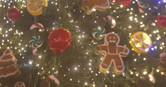 Rotating Decorated Fir-Tree Installed at Sofia Square Decor Close Up Man Cookie Stock Footage