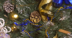 Christmas Tree Decorated With Blue Golden Ribbons Bows Christmas Balls Toys Stock Footage