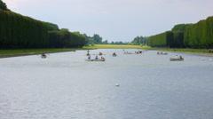 Canoeing versailles palace lake on boat, paris, france, timelapse, 4k Stock Footage