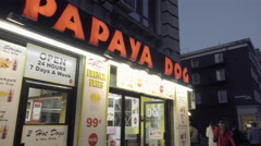 Papaya Dog famous hot dogs on 6th Avenue in Greenwich Village downtown Manhattan Stock Footage
