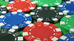 White dices and casino chips on green cloth background. Dolly shot. Double four. Stock Footage