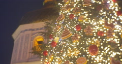 Rotating Decorated Fir-Tree Installed at Sofia Square at the Clock Tower Man Stock Footage