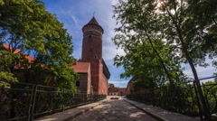 OLSZTYN, POLAND - AUGUST 21, 2015: Old teutonic castle in Olsztyn Stock Footage