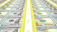 New 100 USD stacks, loop - stock footage