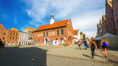 OLSZTYN, POLAND - AUGUST 21, 2015: (Timelapse View) Medieval houses of Olsztyn Stock Footage
