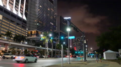 Downtown Miami city scene people Stock Footage
