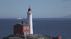 Fisgard Lighthouse and Ship in Canada Stock Footage