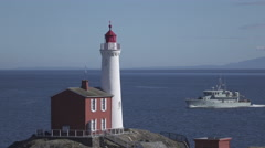Fisgard Lighthouse and Military Ship in Canada Stock Footage